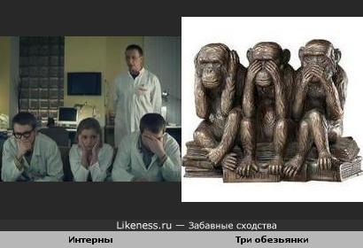 Интерны напомнили трёх обезьянок