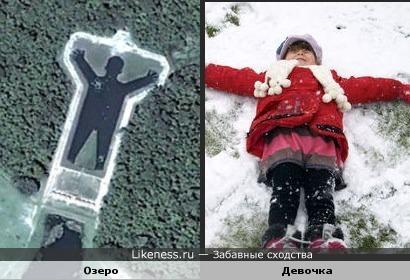 Озеро в Борбореме и девочка,делающая снежного ангела