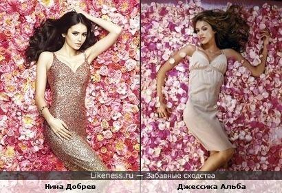 Нина Добрев и Джессика Альба в цветах