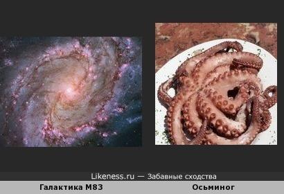 Спиральная галактика с перемычкой M83, также известная как Южная Вертушка, и осьминог
