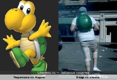 У парня из клипа LMFAO - Party Rock Athem рюкзак похож на панцирь черепахи (к примеру, панцирь черепахи из Марио)