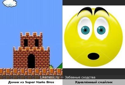 """Домик в игре """"Super Mario Bros"""" похож на удивлённый смайлик"""