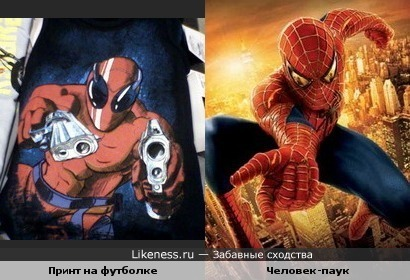 Персонаж на принте футболки Gee Jay похож на Человека-паука