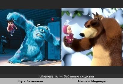 """Бу и Салливан из м/ф """"Корпорация Монстров"""" напомнили мне Машу и Медведя из одноимённого мультфильма"""