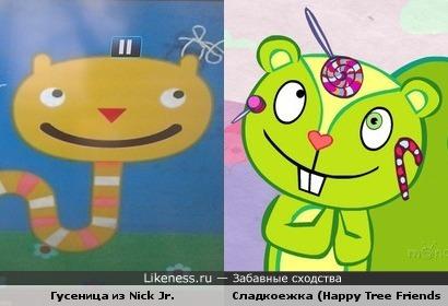 "Гусеница из заставки Nick Jr. похожа на Сладкоежку из м/с ""Happy Tree Friends"""
