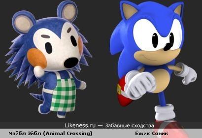 """Мэйбл Эйбл из игры """"Animal Crossing"""" напомнила Ёжика Соника"""