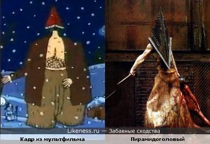 Мужик из мультфильма Кто расскажет небылицу похож на пирамидоголового из фильма Silent Hill