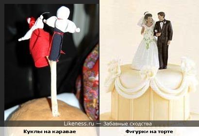 Русские традиционные куклы на свадебном каравае и фигурки на американском свадебном торте
