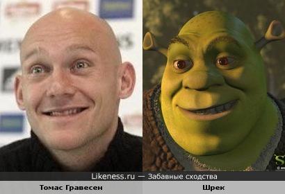 Футболист Томас Гравесен похож на Шрека