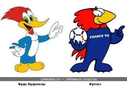 Талисман FIFA World Cup 1998 во Франции петушок Футикс похож на дятла Вуди