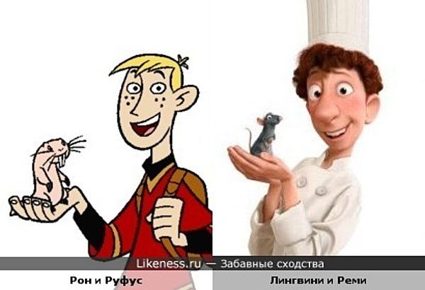 """Эти пары персонажей из мультфильмов """"Рататуй"""" и """"Ким Пять-с-плюсом"""" похожи"""