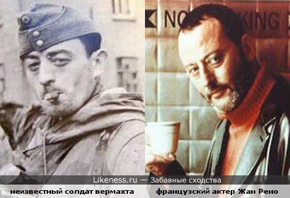 Солдат вермахта со старого фото похож на Жана Рено