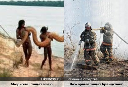 Аборигены и пожарные одинаково любят позировать фотографам