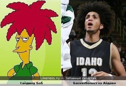 Сайдшоу Боб из Симпсонов похож прической на баскетболиста из Айдахо