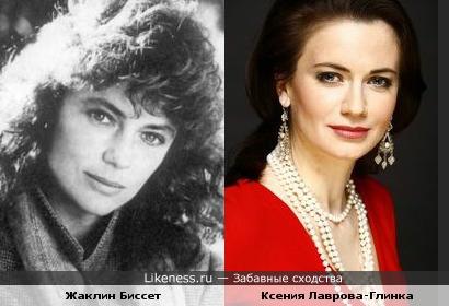 Актриса Ксения Лаврова-Глинка похожа на актрису и модель Жаклин Биссет