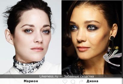 Модель Диана Молдован похожа на французскую актрису Марион Котийяр