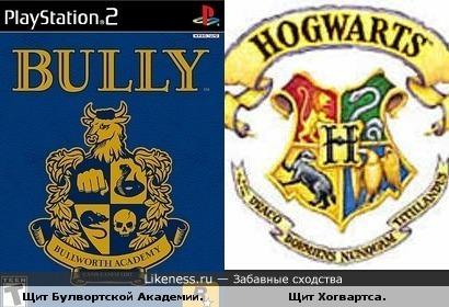 """Щит Булвортской Академии из игры Bully напоминает щит Хогвартса из """"Гарри Поттера""""."""