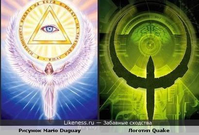Рисунок художника Mario Duguay и логотип Quake