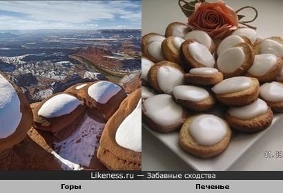 Заснеженные горы и печеньки с глазурью