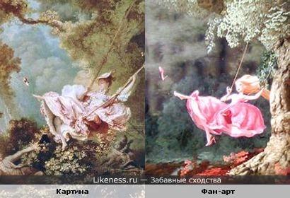 """Картина Фрагонара """"Счастливые возможности качелей"""" и фан-арт """"Рапунцель"""""""