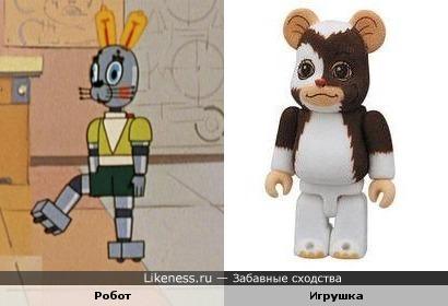 """Робот-Заяц (м/ф """"Ну, погоди!"""") и игрушка (персонаж х/ф """"Гремлины"""")"""
