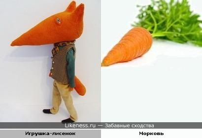 Голова игрушки-лисенка похожа на морковь