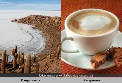 Озеро соли напоминает капучино