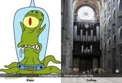 """Персонаж """"Симпсонов"""" и собор"""