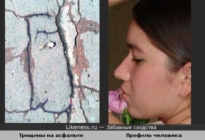 Трещины на асфальте складываются в человеческий профиль (исправл)
