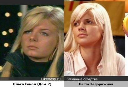Ольга Сокол похожа на Настю Задорожную