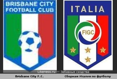 Австралийский клуб Brisbane City похож на эмблему Сборной Италии по футболу