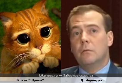 Медведев во время выступления о ситуации на Кипре и кот из Шрека