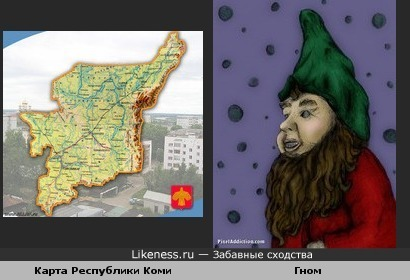 Карта Республики Коми похожа на гнома с бородавкой на носу