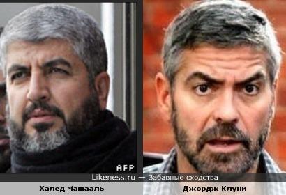 """Джордж Клуни и Халед Машааль (лидер """"ХАМАС"""")"""