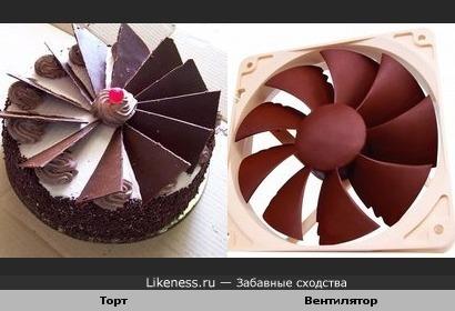 Торт напоминает вентилятор