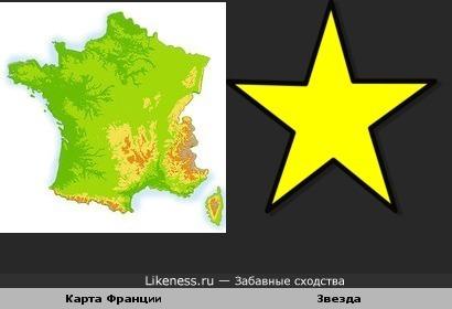 Карта Франции похожа на звезду