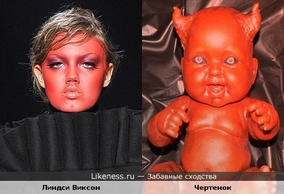 Модель Линдси Виксон похожа на куклу чертенка
