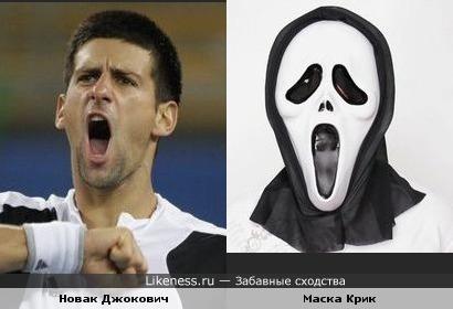 Теннисист Новак Джокович напоминает маску из Крика