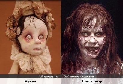 кукла похожа на актрису Линду Блэр в роли одержимой
