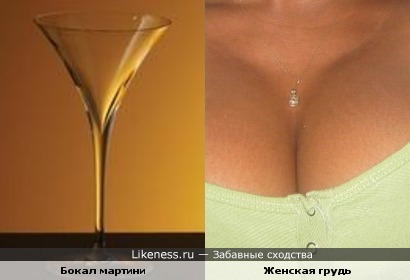 Бокал мартини похож на женскую грудь