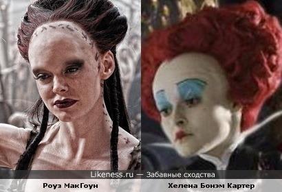 """Роуз МакГоун в роли Марик (""""Конан-Варвар"""") похожа на Хелену Бонэм Картер в образе Красной Королевы (""""Алиса в Стране чудес"""")"""