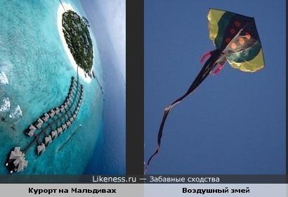 С высоты птичьего полёта курорт на Мальдивах похож на запущенного в небо воздушного змея.