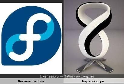 Логотип Fedora и барный стул