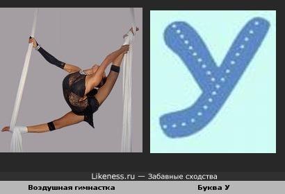 Забавное сходство:воздушная гимнастка и буква У...