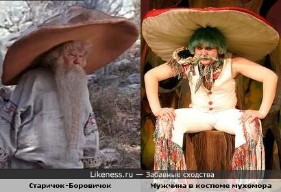 Старичок-Боровичок и мужчина в костюме мухомора