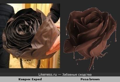 Свёрнутый коврик очень напоминает розу