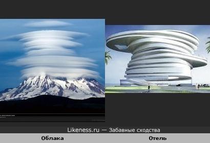 Спиральный отель в Абу Даби и лентикулярные облака