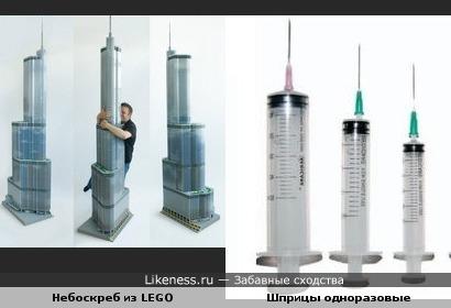 Копия Интернационального Чикагского Отеля Трамп, сделанная из LEGO,напомнила одноразовые шприцы