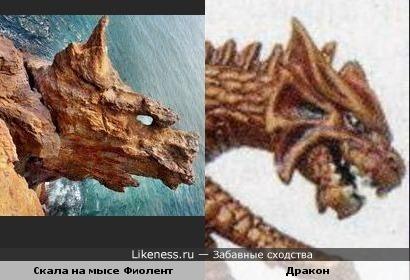 Скала на мысе Фиолент похожа на голову дракона