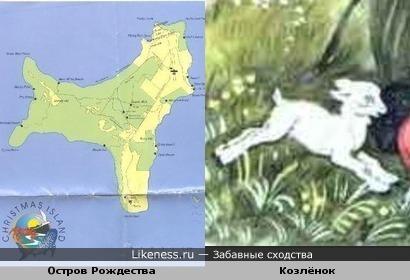 Карта острова Рождества напоминает козлёнка